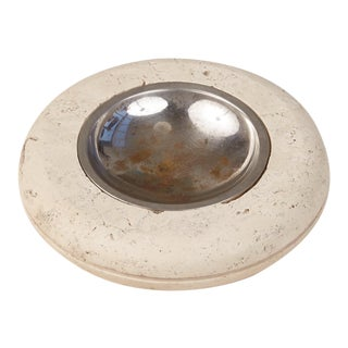 Fratelli Mannelli Travertine Ashtray With Metal Dish For Sale