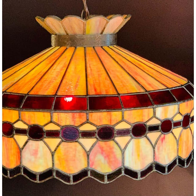 Mid 20th Century Tiffany Style Leaded Glass & Patinated Bronze Pendant or Chandelier For Sale In New York - Image 6 of 12