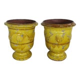 Image of Pair of French Glazed Planters 20th Century For Sale