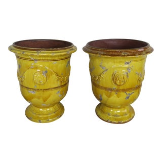 Pair of French Glazed Planters 20th Century For Sale