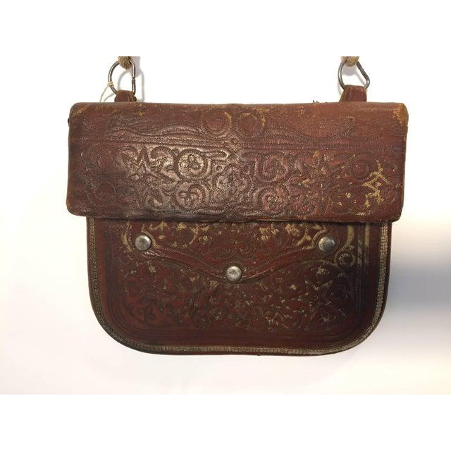 African Moroccan Berber Tribal Hand Tooled Leather Shoulder Bag For Sale - Image 3 of 9