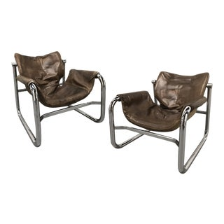 """""""Alpha"""" Leather Sling Chairs by Pozza, Brazil — a Pair For Sale"""