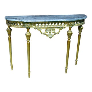 Regency Style Marble Top Demi-Lune Console Table For Sale