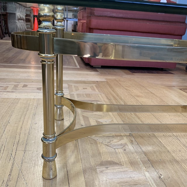 Maison Jenson Style Polished Brass + Glass Coffee Table For Sale In San Francisco - Image 6 of 9