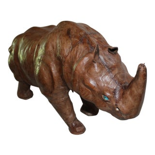 Vintage Leather Wrapped Rhinoceros