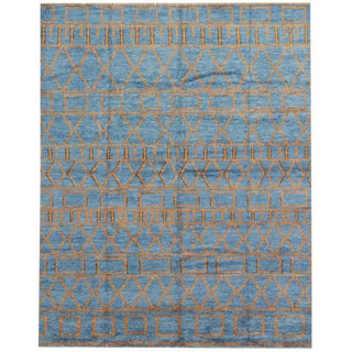 Orange and Blue Moroccan Style Rug With Modern Design, 10'05 X 13'00