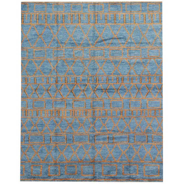 Orange and Blue Moroccan Style Rug With Modern Design, 10'05 X 13'00 For Sale
