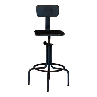 Pair of Swiveling Workshop Bar Stools For Sale