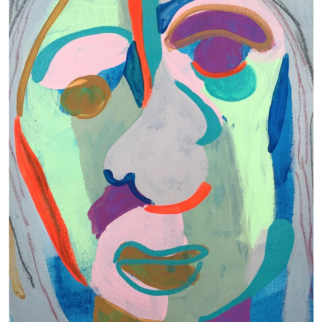 """Contemporary Abstract Portrait Painting """"Witness This"""" For Sale In Detroit - Image 6 of 8"""