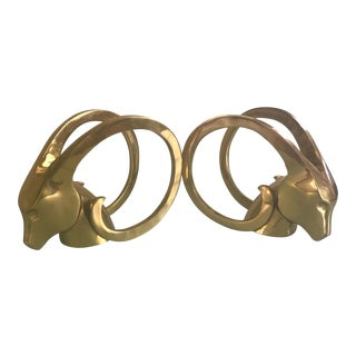 Hollywood Regency Style Brass Ibex Bookends - A Pair