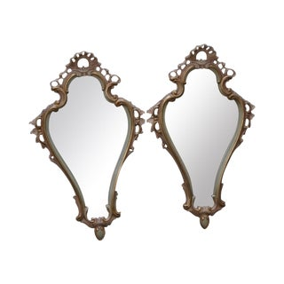 Pair of Vintage Carved Paint Decorated Italian Rococo Mirrors