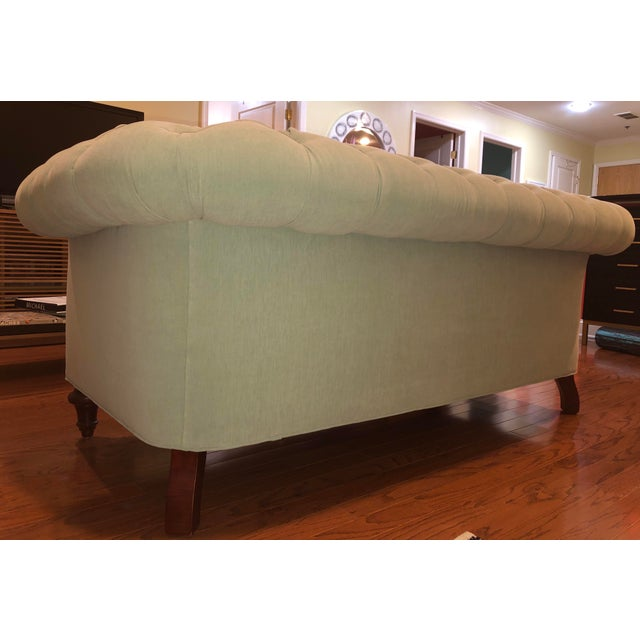 Wood Anthropologie Blue Chesterfield Sofa For Sale - Image 7 of 11