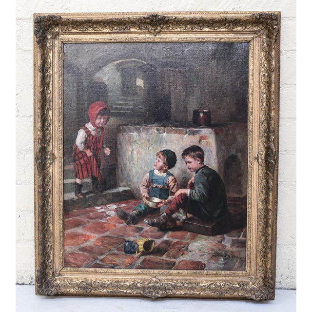"""Oil on Canvas Painting """"The Broken Plate"""" by Joseph Jost, 1910 For Sale In Los Angeles - Image 6 of 6"""