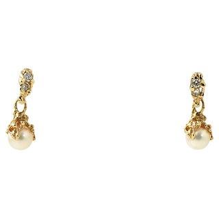 Organic Gold Pearl & Diamond Earrings For Sale