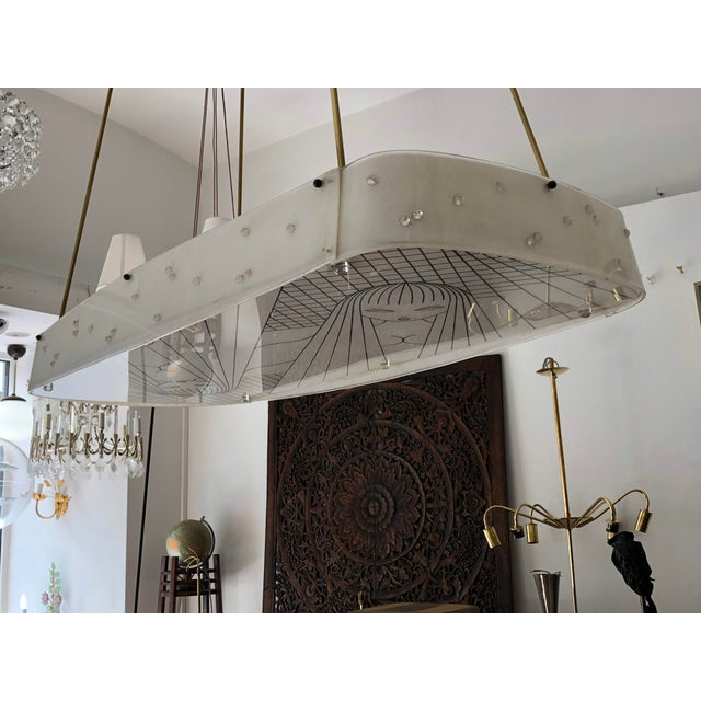 White Beautiful Midcentury Chandelier With Handmade Shades For Sale - Image 8 of 12