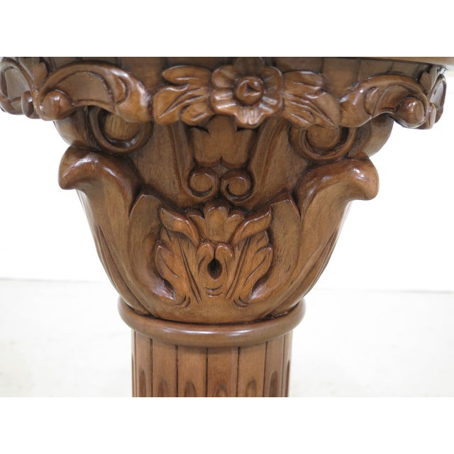 Traditional Marble Top Round Column Pedestal Stand For Sale - Image 3 of 6