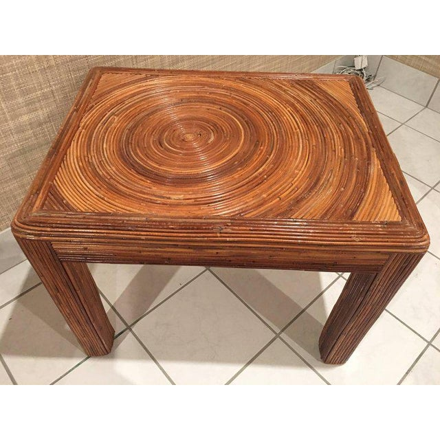Bamboo Pencil Reed Rattan Side End Table For Sale - Image 7 of 8