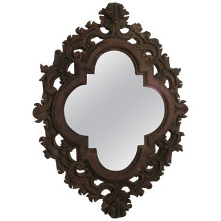 1960s Spanish Carved Wood Mirror For Sale