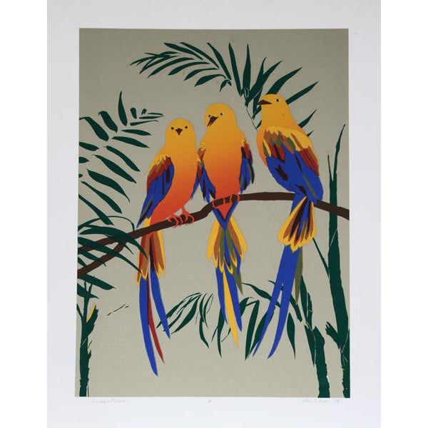 1980 Anne Nipper Three Tropical Robins Print For Sale