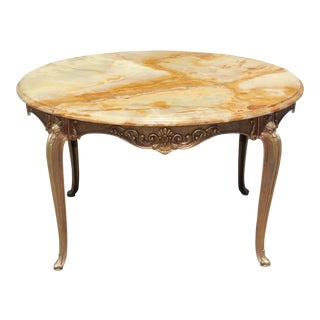 Classic French Maison Jansen Round Coffee or Cocktail Bronze Table Circa 1940s.