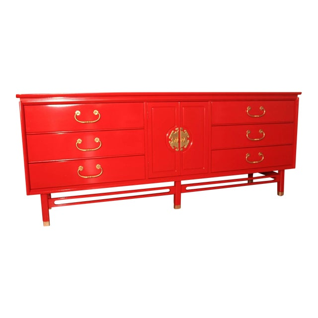 Basset Chinoiserie Red Lacquered Dresser Credenza For Sale