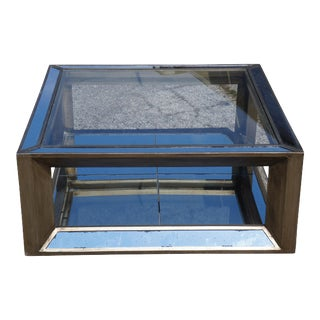 Venetian Style Antiqued Mirrored Versailles Square Modern Coffee Cocktail Table For Sale