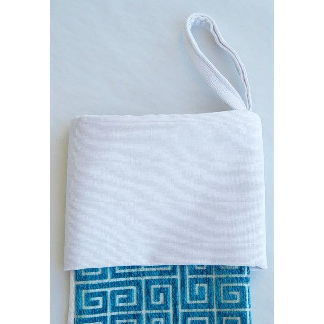 Custom Greek Key Velvet Christmas Stocking For Sale - Image 4 of 4
