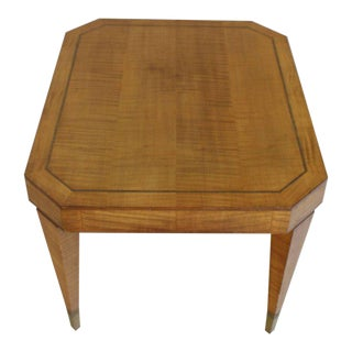 Tommy Parzinger Occasional Rectangular Side Table Brass and Satinwood For Sale