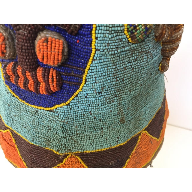 Yoruba Nigeria African Royal Beaded Headdress Crown on Lucite Stand For Sale In Los Angeles - Image 6 of 13