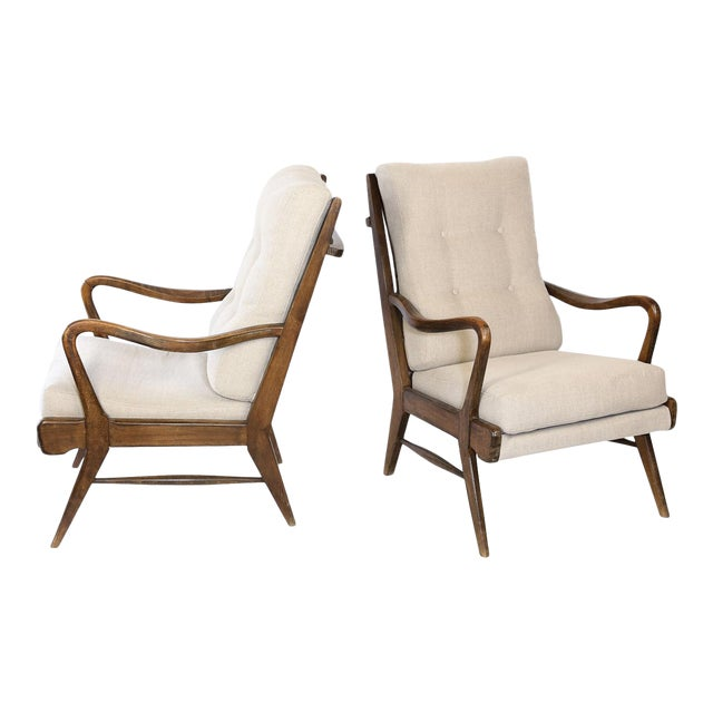 Pair of Mid-Century Modern Armchairs, Newly Upholstered For Sale