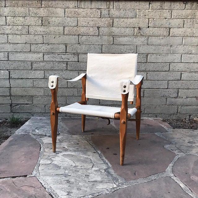 Teak & Canvas Danish Safari Chair For Sale - Image 4 of 4