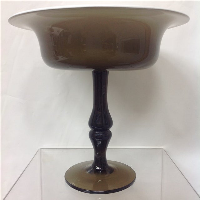 Mediterranean Holmgaard Olive Glass Tazza For Sale - Image 3 of 5