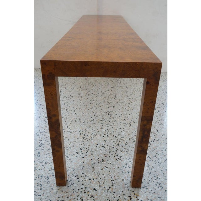 Mid 20th Century Mid-Century Modern Milo Baughman Burlwood Console Table For Sale - Image 5 of 10