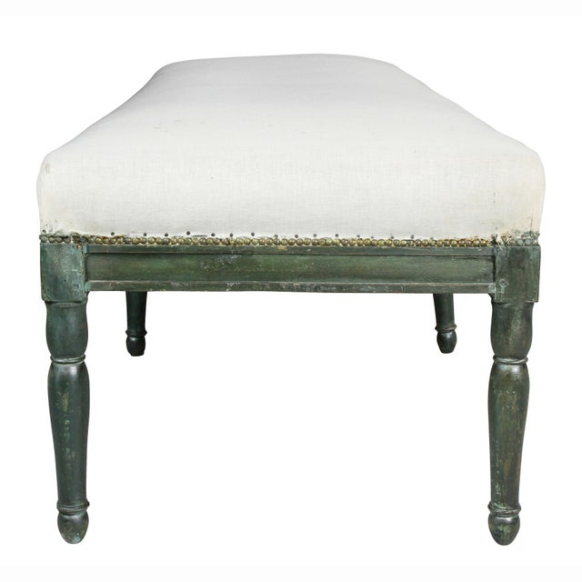 French Restauration Green Painted Bench For Sale In Boston - Image 6 of 8