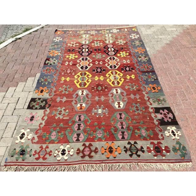 Rustic Turkish Kilim Rug For Sale - Image 11 of 11