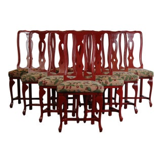 Late 20th Century Vintage Red Dining Chairs - Set of 10 For Sale