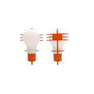 Pair of Oversized Pop Art Mod Light Bulb Table or Hanging Lamps, Orange Frames For Sale