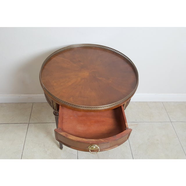 Henredon Empire Style Round Wood With Brass Border Tray End Table For Sale - Image 11 of 13