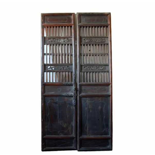 This pair of antique Chinese screen door was used as interior doors. The  screen's open - Antique Chinese Wood Screen Door Chairish