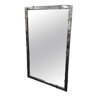 Karl Springer Style Chrome Wall Mirror with Brass Accents For Sale