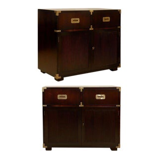 Restored Pair of Vintage Henredon Campaign Chests in Espresso Lacquer For Sale