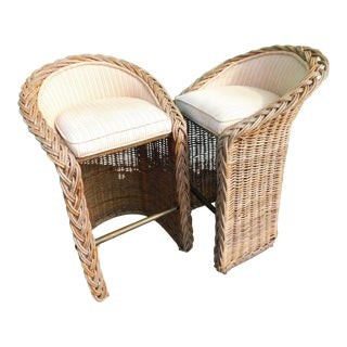 Boho Chic Wicker Stools - A Pair For Sale