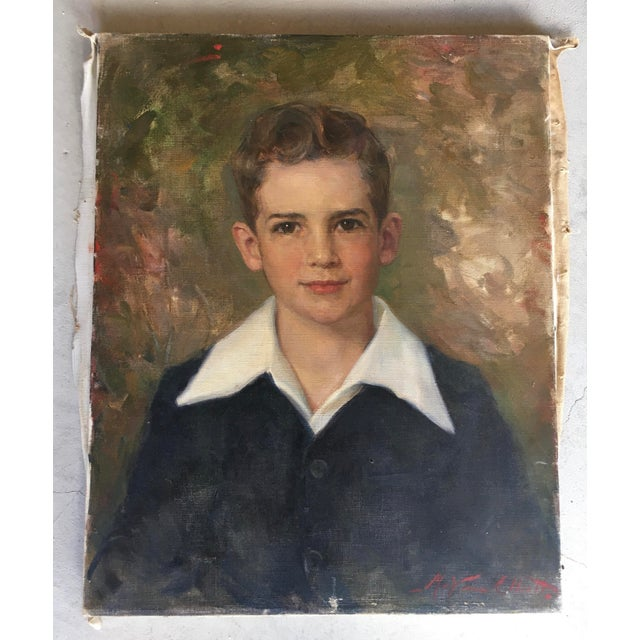 Blue Oil Portrait Painting Young Man 1952 Signed For Sale - Image 8 of 8