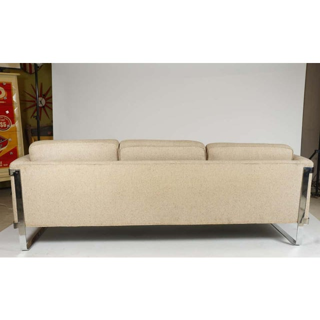 Excellent Neutral Floating Steel Frame Milo Baughman Style Mid-Century Modern 1970s Sofa For Sale - Image 9 of 12