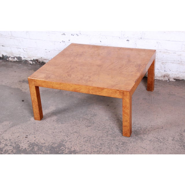 Mid-Century Burl Wood Parsons Coffee Table For Sale - Image 9 of 9
