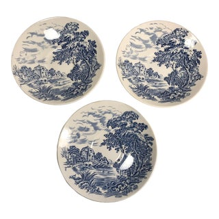 Vintage 1960s Blue and White Countryside Small Plates Saucers by Wedgwood - Set of 3 For Sale