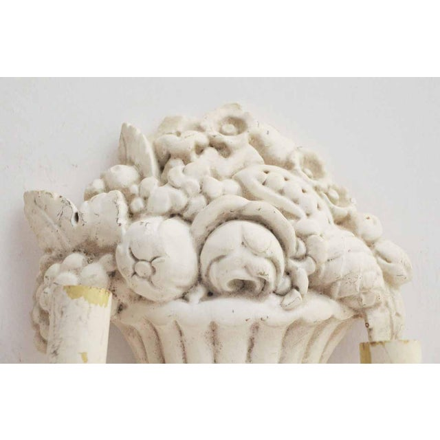 White Wood Sconces With Cornucopia Motif - A Pair For Sale - Image 11 of 11