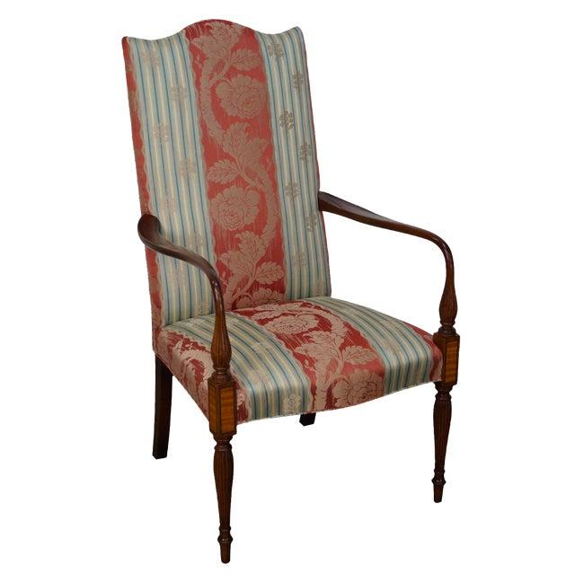 Wood & Hogan Custom Mahogany Inlaid Sheraton Style Lolling Chair - Image 1 of 10