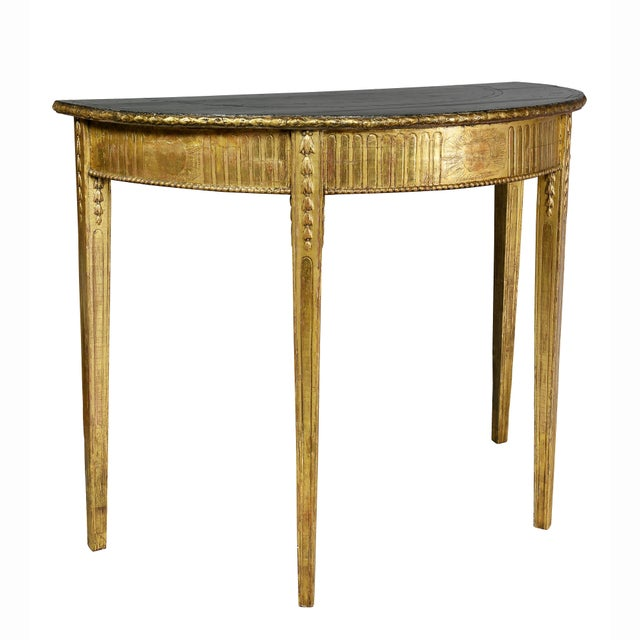 George III Giltwood Demilune Console Table For Sale - Image 4 of 9