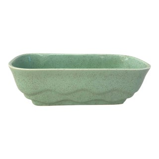 Vintage Mint Green Speckled Rectangular Planter For Sale
